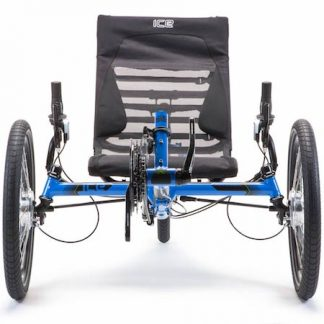 Front view, of blue ICE Adventure HD recumbent trike