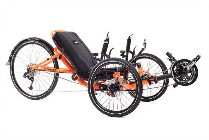 Side, right at 45 degree view of Catrike 5.5.9 recumbent trike in atomic orange