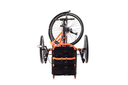 Front, folded view of Catrike 5.5.9 recumbent trike in atomic orange for easy transport