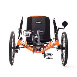 Front view of Catrike 5.5.9 recumbent trike in atomic orange