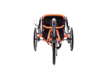 Rear view of Catrike 5.5.9 recumbent trike in atomic orange