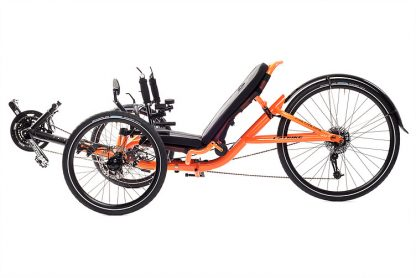 Side, left view of Catrike 5.5.9 recumbent trike in atomic orange