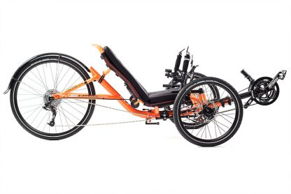 Side, right view of Catrike 5.5.9 recumbent trike in atomic orange