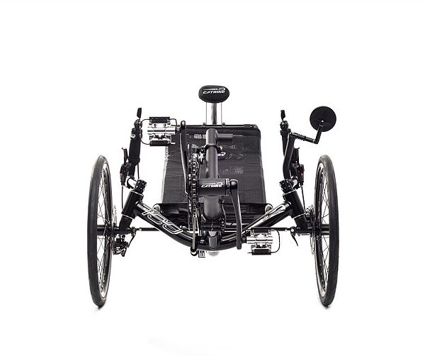 Front view of Catrike 700 recumbent trike in black