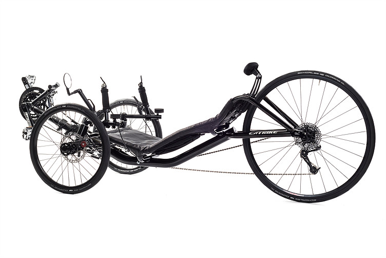 Side, right 45 degree view of Catrike 700 recumbent trike in black