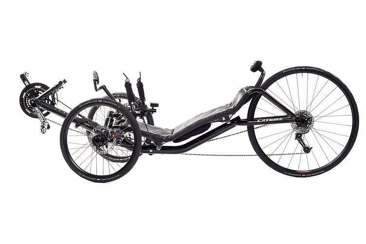 Side, left view of Catrike 700 recumbent trike in black