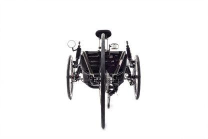 Rear view of Catrike 700 recumbent trike in black