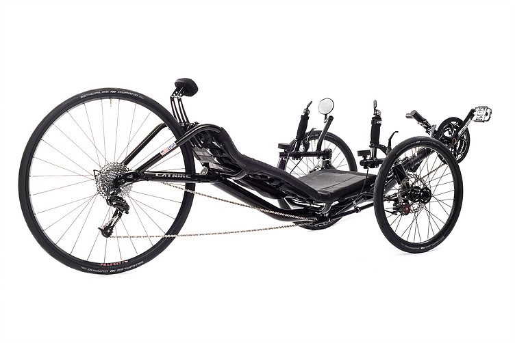 Side, left 45 degree view of Catrike 700 recumbent trike in black