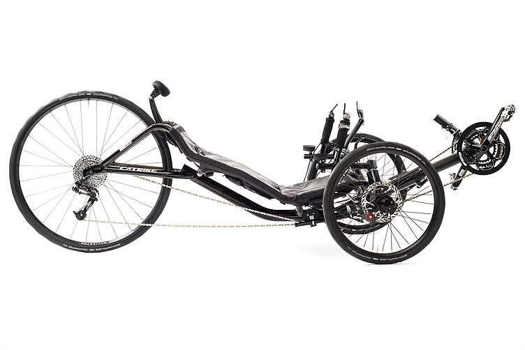 Side, irght view of Catrike 700 recumbent trike in black