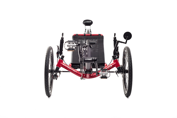 Front view of Catrike Expedition recumbent trike in lava red color