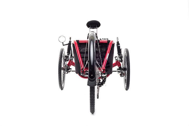 Rear view of Catrike Expedition recumbent trike in lava red color