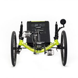 Front view of Catrike Pocket recumbent trike in hyper yellowcolor