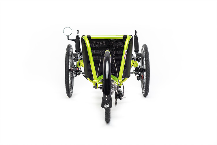 Rear view of Catrike Pocket recumbent trike in hyper yellowcolor