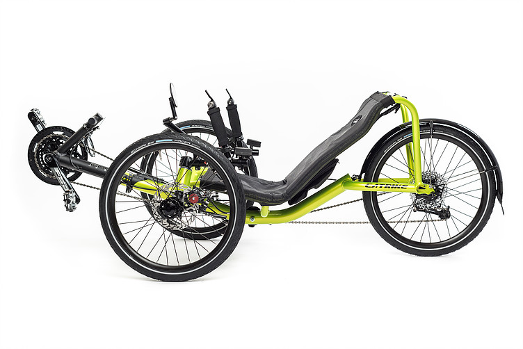 Side, left view of Catrike Pocket recumbent trike in hyper yellowcolor