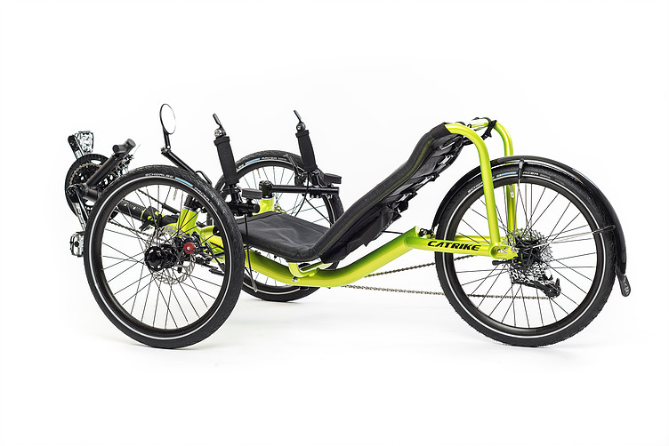 Side, left 45 degree view of Catrike Pocket recumbent trike in hyper yellowcolor