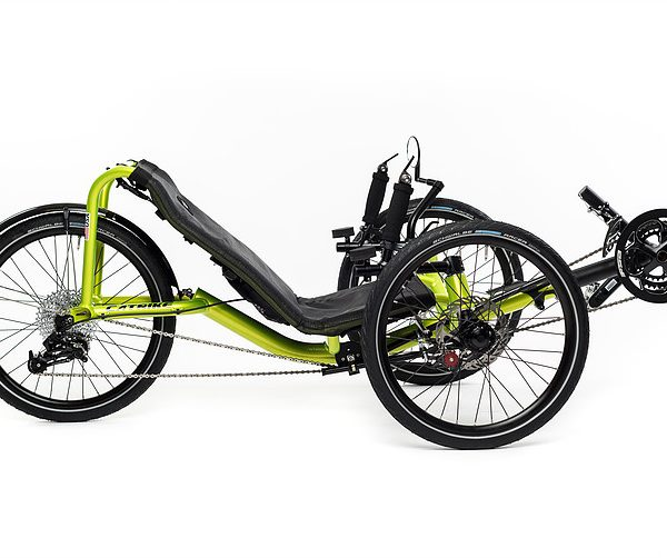 Side, right view of Catrike Pocket recumbent trike in hyper yellowcolor