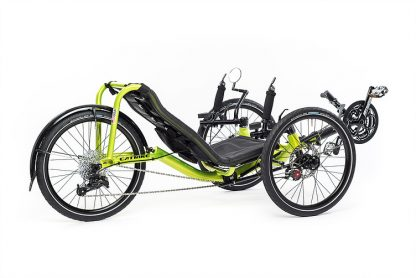 Side, right 45 degree view of Catrike Pocket recumbent trike in hyper yellowcolor