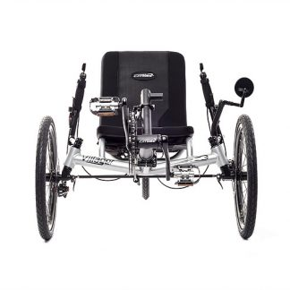 Front view of Catrike Villager recumbent trike in silver moon color