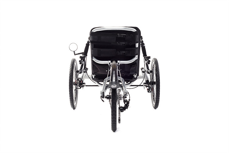 Rear view of Catrike Villager recumbent trike in silver moon color