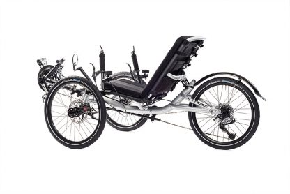 Left, side 45 degree view of Catrike Villager recumbent trike in silver moon color
