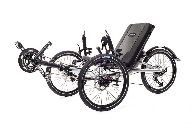 Right, side 45 degree view of Catrike Villager recumbent trike in silver moon color