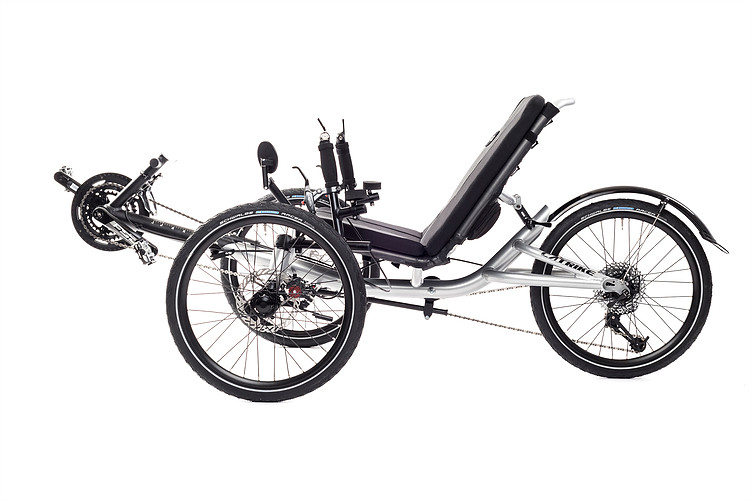 Left view of Catrike Villager recumbent trike in silver moon color