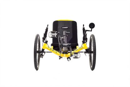 Front view of Catrike trail recumbent trike in firefly yellow