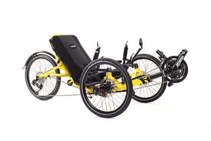 Front, right 45 degree view of Catrike trail recumbent trike in firefly yellow