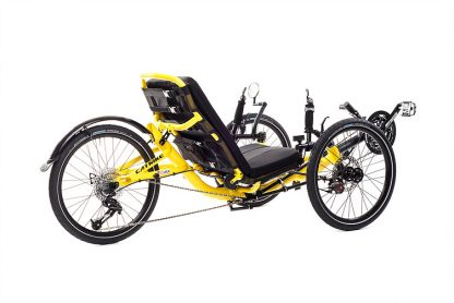 Rear, right 45 degree view of Catrike trail recumbent trike in firefly yellow