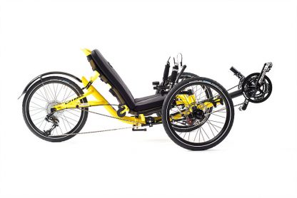 Front, right side view of Catrike trail recumbent trike in firefly yellow
