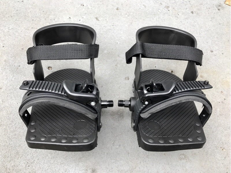 Frankenstein approved, adaptive cycling pedals with heel support and rateching foot strap