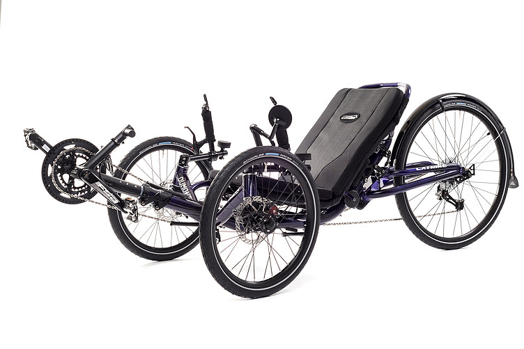 45 degree view picture of a Catrike Dumont Candy Purple fully suspended recument trike