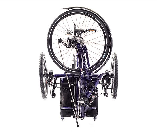View of a Catrike Dumont Candy Purple fully suspended recument trike folded for easy transport
