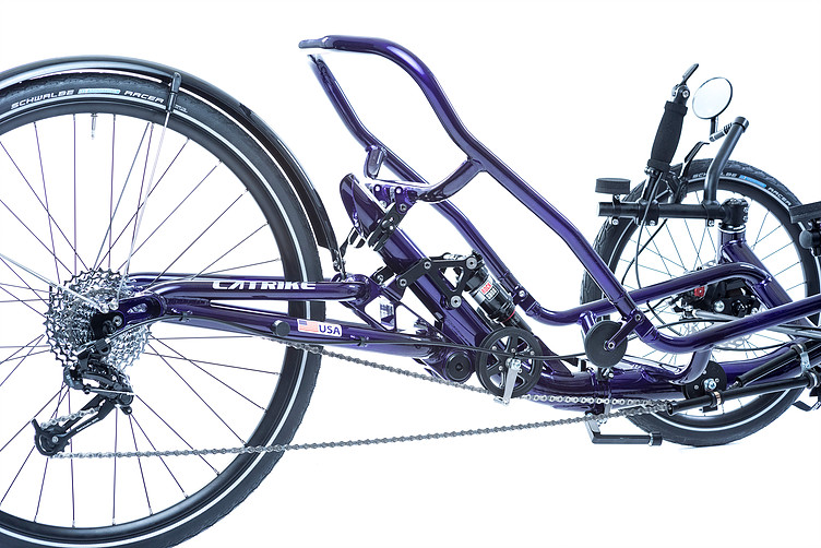 Rear view of rear suspension for a Catrike Dumont Candy Purple fully suspended recument trike with seat removed to show space frame