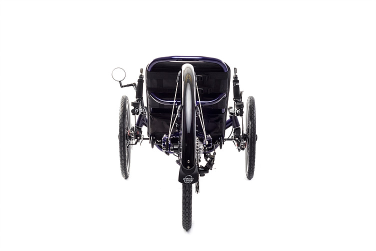 Rear view picture of a Catrike Dumont Candy Purple fully suspended recument trike