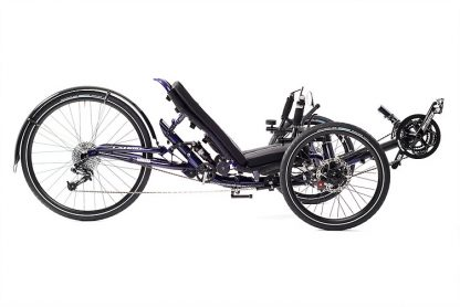 Side, right view picture of a Catrike Dumont Candy Purple fully suspended recument trike