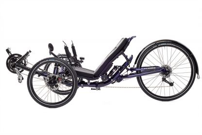 Side view picture of a Catrike Dumont Candy Purple fully suspended recument trike