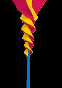 Soundwinds Rotini Small - Yellow and Pink Spinning Bike flag