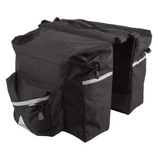 Black Pannier Bag for your bicycle. 20 Liter capacity. One-piece double sided design - 610 cubic inches of storage per side