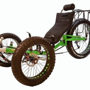 Fat tire, electronic trike by Trident Trikes in Wassabi Green, side view