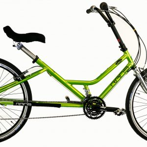 Lime green, crank forward Fusion Step Through Bicycle from RANS side view