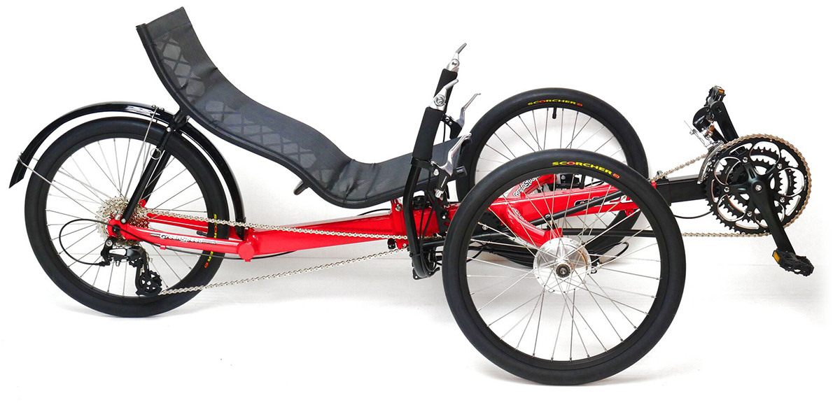 Side profile of Red, recumbent trike