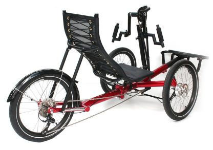 Burgandy, tadpole hand powered trike from Greenspeed at diagonale view