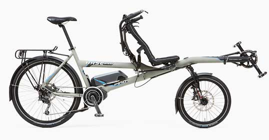 Grey, electric tandem bicycle from hase with Shimano steps motor