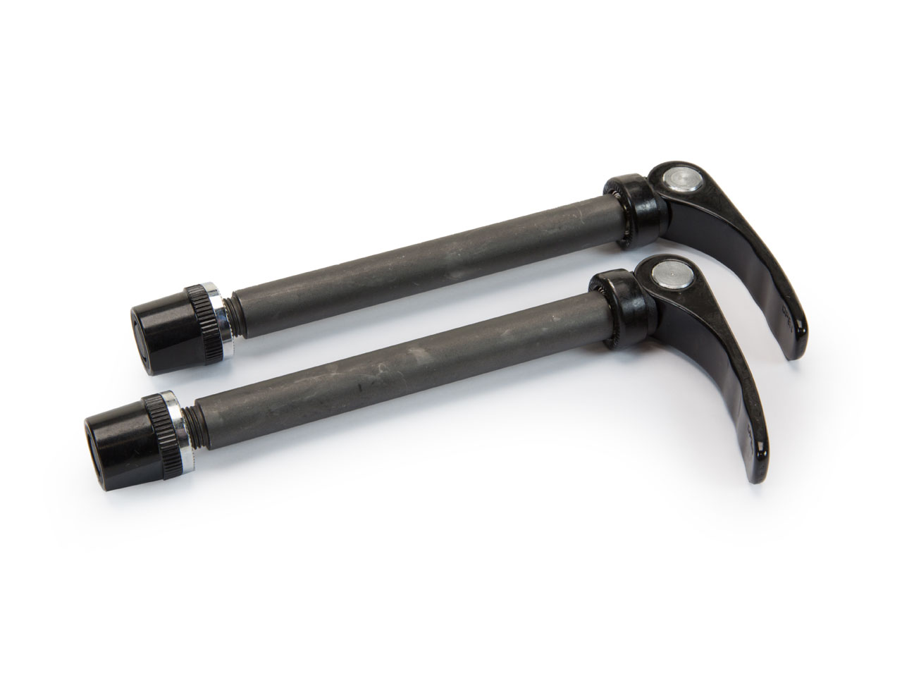 Black, quick release axels to remove your ICE trike's front wheels quickly