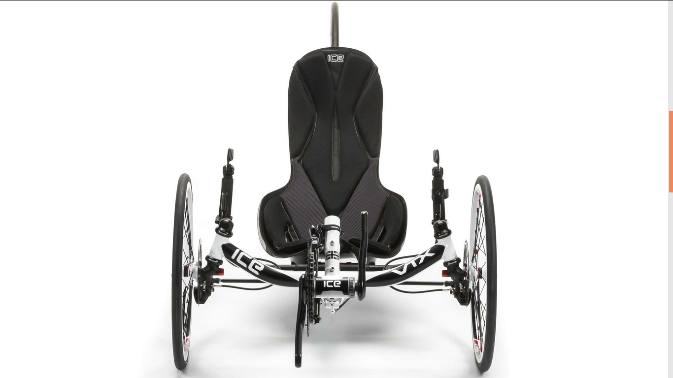 Front view of ICE VTX recumbent trike in white