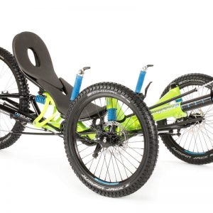 Left, diagonal view of green, HP Velotechnik Scorpion FS 26 Enduro Mountain Biking Recumbent Trike